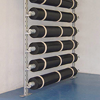 Wall attached floor covering storage